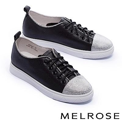 休閒鞋 MELROSE 率性奢華閃鑽拼接全真皮綁帶厚底休閒鞋-黑