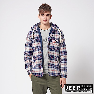 JEEP 百搭格紋刷毛襯衫式長袖外套
