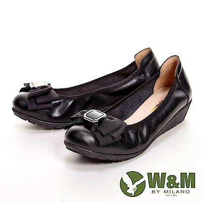 W&M 氣質蝴蝶節低跟娃娃鞋 女鞋-黑(另有米白)
