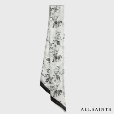 ALLSAINTS STRENGTH 中式虎風圖騰印花絲巾-白