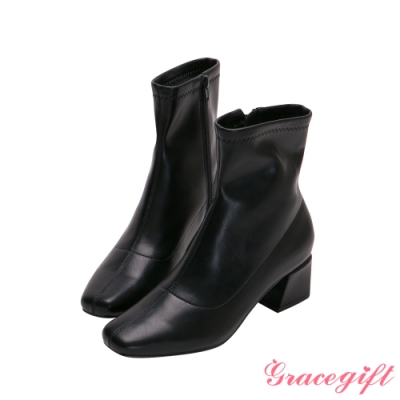 Grace gift-微方頭造型中跟短靴 黑