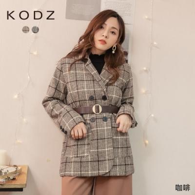 東京著衣-KODZ 高CP單品撞色格紋毛呢排釦附腰帶外套