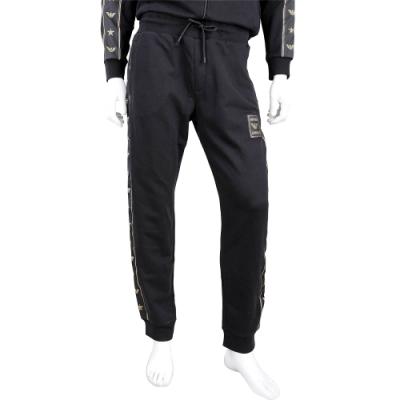 Emporio Armani 品牌徽標黑色抽繩休閒長褲(男款)