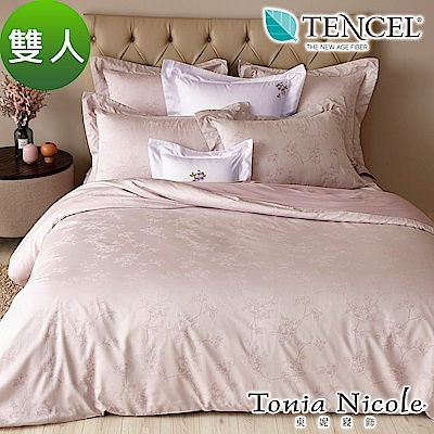 Tonia Nicole東妮寢飾 蝶舞紛飛環保印染萊賽爾天絲緹花被套床包組(雙人)