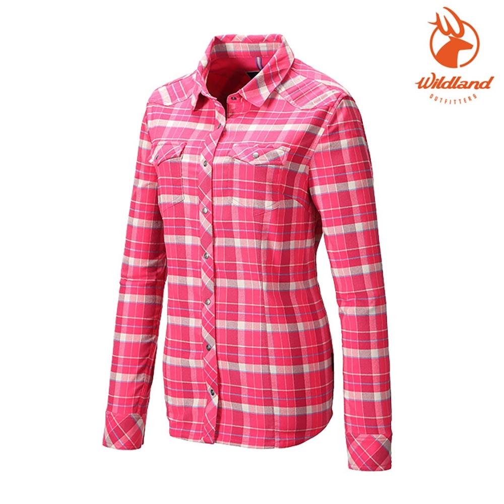 WildLand 女彈性T400格紋保暖襯衫0A82201 桃紅色