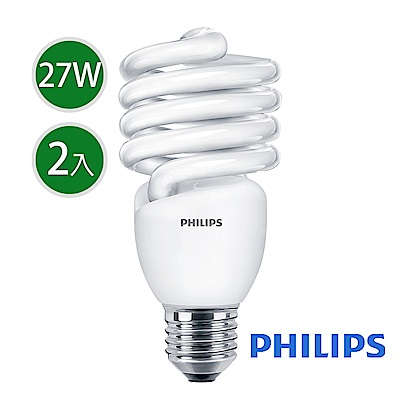 飛利浦 Tornado 螺旋省電燈泡T2 27W E27 120V 白光 (2入組)