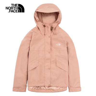 The North Face北面女款粉色防水透氣連帽衝鋒衣|4U9UV3R