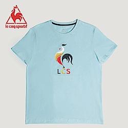 le coq sportif 法國公雞牌印花透氣短袖T恤 男女-灰藍