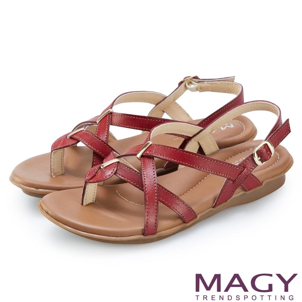 MAGY 質感牛皮交叉編織夾腳涼鞋 紅色
