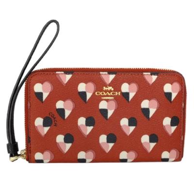 COACH橘紅幾何塗鴉愛心拉鍊掛式手機袋中夾
