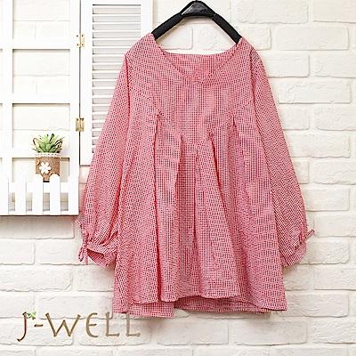 J-WELL 野餐格打摺袖綁結上衣(3色)