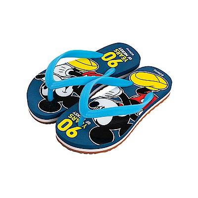 迪士尼童鞋 90周年限定款 米奇 經典夾腳拖鞋-藍