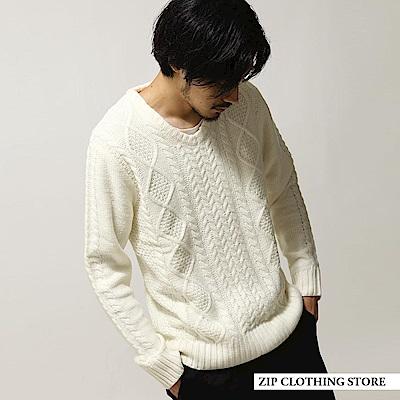 V領麻花織針織衫(20色) ZIP日本男裝