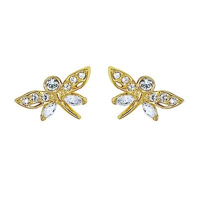 SWAROVSKI 施華洛世奇 璀璨水晶蜻蜓造型金色耳環