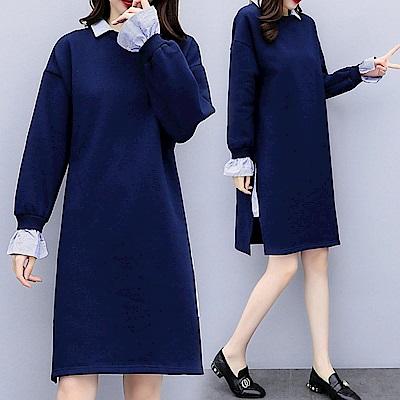 中大尺碼假兩件藍色條紋領子袖口側開叉拼接洋裝XL~4L-Ballet Dolly