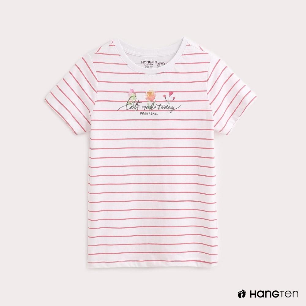 Hang Ten-女裝條紋印花T恤-粉