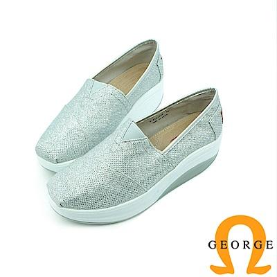 【GEORGE 喬治】舒適系列 V字彈力素面休閒鞋-白色