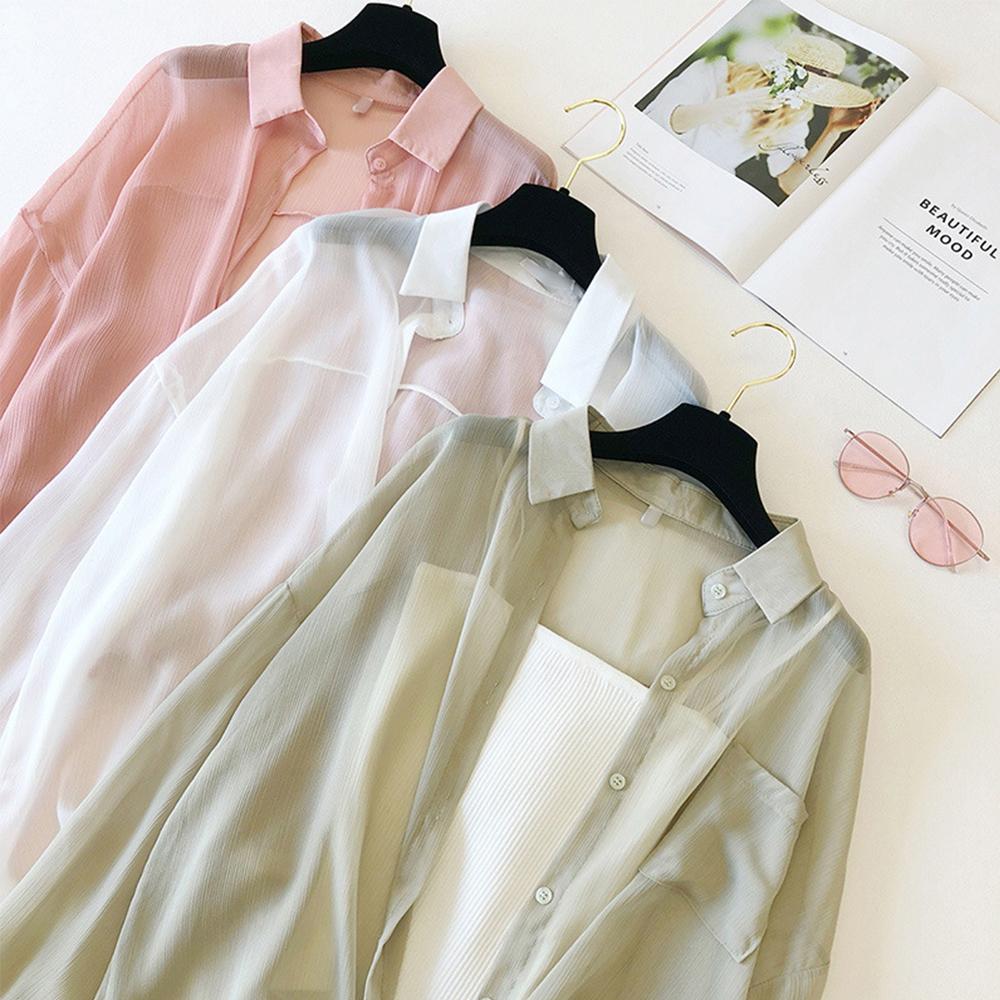 初色  雪紡螺紋防曬罩衫-共3色-(F可選)
