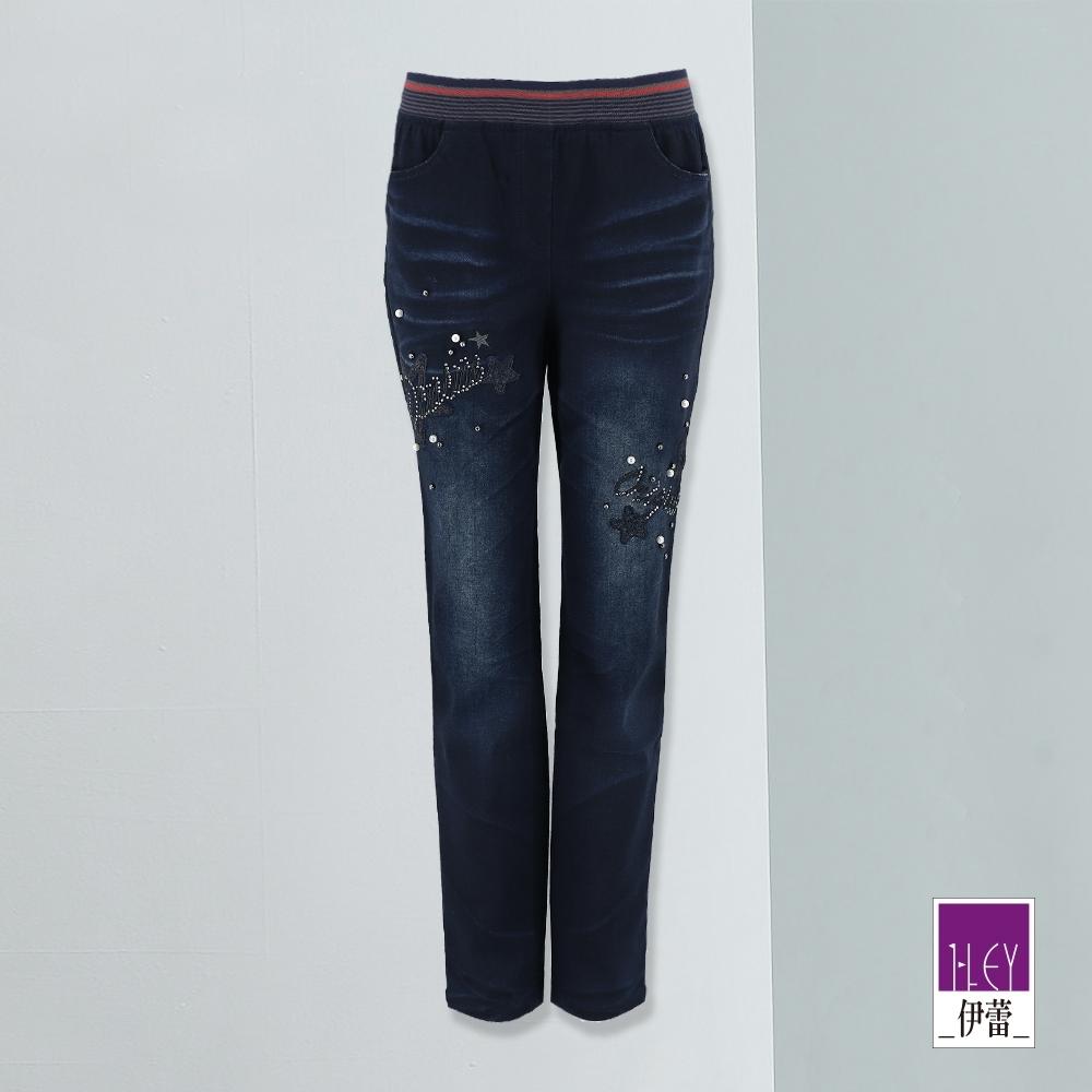 ILEY伊蕾 彈性腰頭海星珍珠牛仔褲(藍)