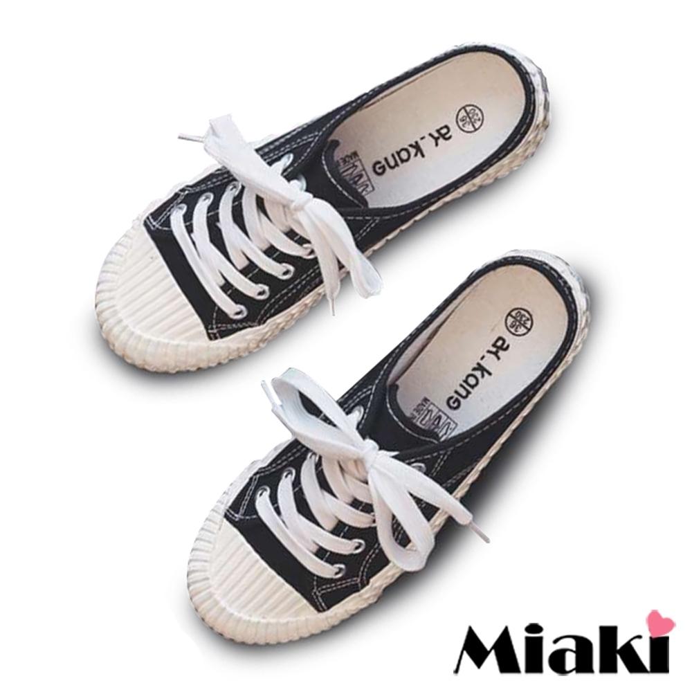 Miaki-穆勒鞋韓風學院厚底帆布鞋-黑
