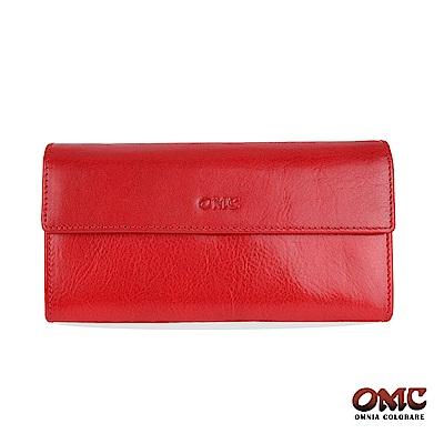OMC 原皮系列-植鞣牛皮翻蓋壓扣多隔層零錢長夾-紅色