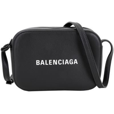 BALENCIAGA EVERYDAY 品牌字母小牛皮相機包(黑色/XS)