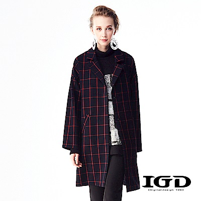 IGD英格麗 英倫大紅寬格紋長版大衣-深藍
