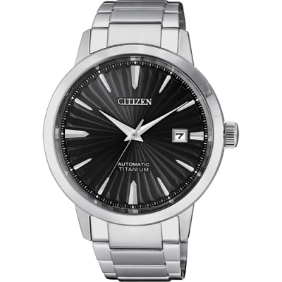 CITIZEN 星辰 鈦 自動上鍊機械手錶-黑x銀/40.5mm(NJ2180-89H)