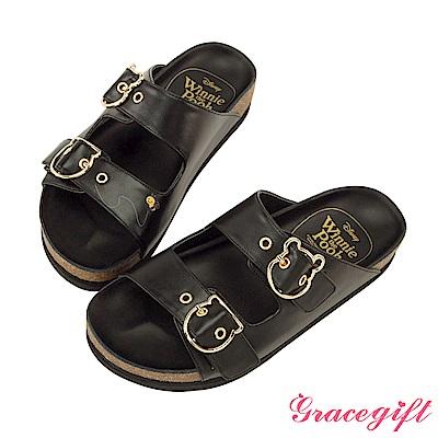 Disney collection by Grace gift造型飾釦雙帶休閒拖鞋 黑