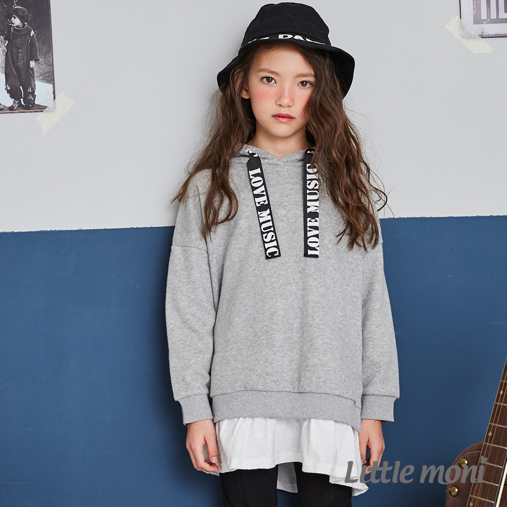 Little moni 連帽織帶拼接長版上衣(共2色) product image 1