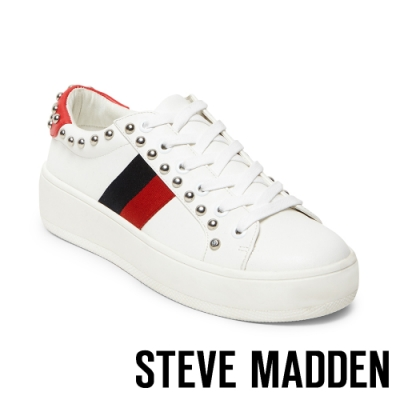 STEVE MADDEN-BELLE文藝織帶綴金屬鉚釘厚底綁帶休閒鞋-特殊紋紅色