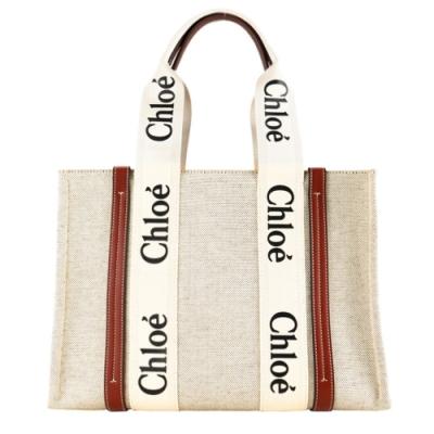 Chloé Woody tote bag帆布托特包(大號/焦糖咖色)