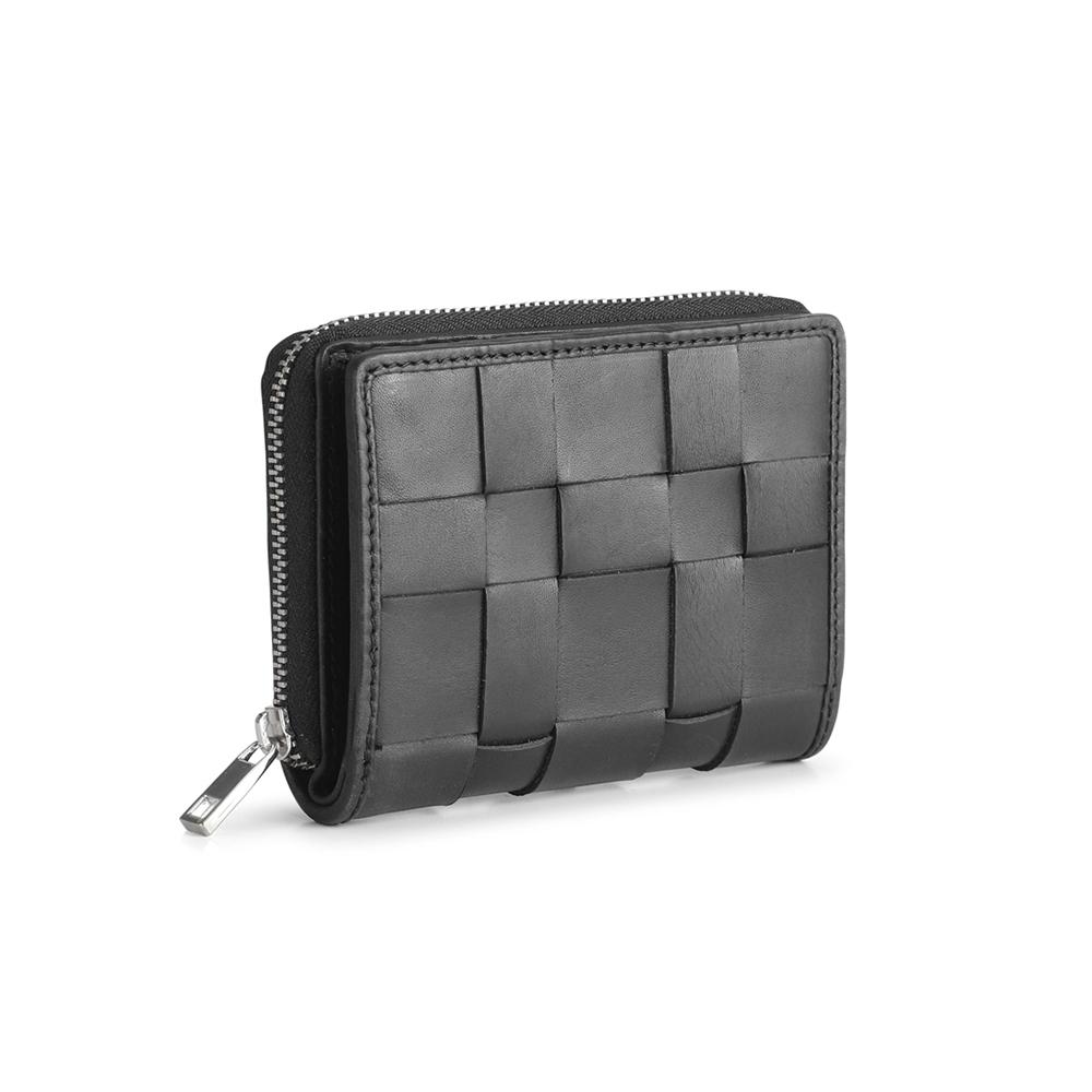 MARKBERG Alva 丹麥手工牛皮編織格紋阿爾瓦側翻雙層短夾 錢包