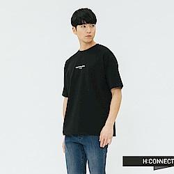 H:CONNECT 韓國品牌 男裝-人像印字T-shirt-黑