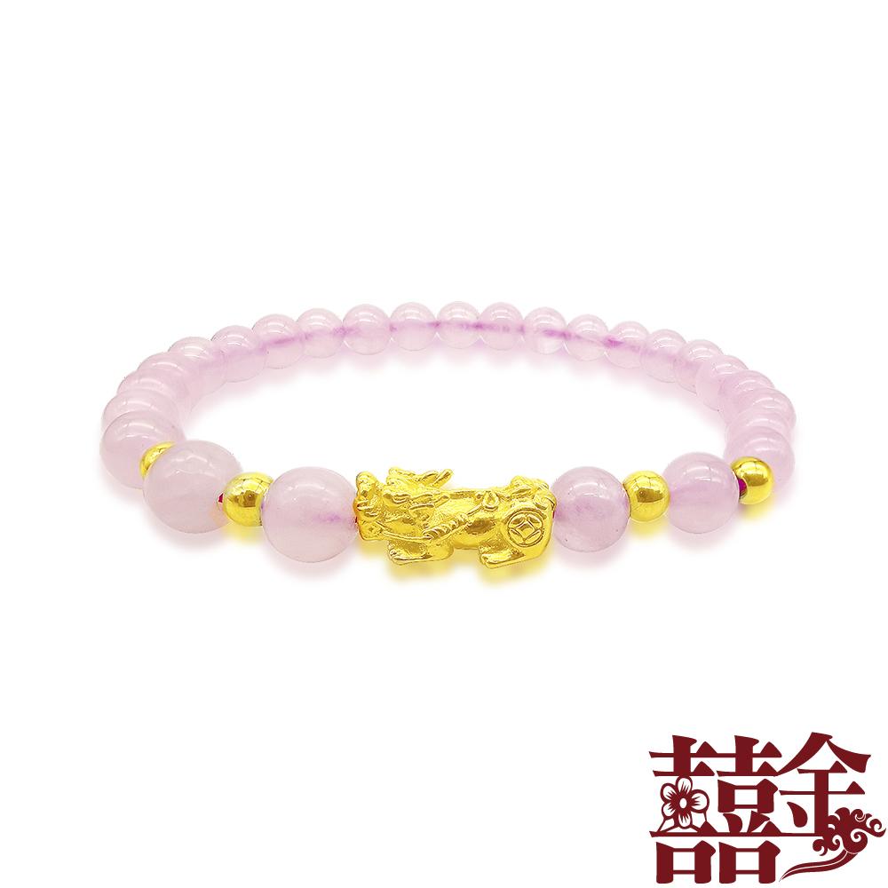囍金 幸福事事順利貔貅 999千足黃金轉運珠手鍊(3色可選) product image 1