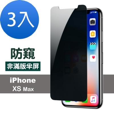 iphone XS Max 防窺 透明 非滿版 防刮 保護貼-超值3入組