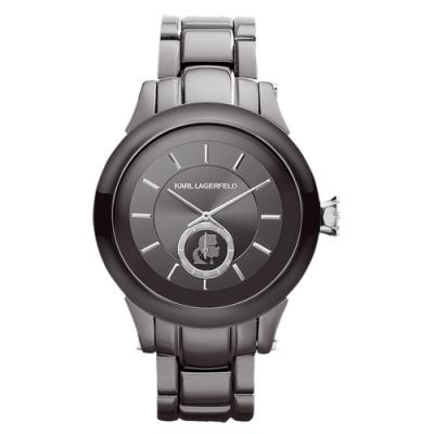 KARL LAGERFELD CHAIN系列鎖定目光時尚設計腕錶-深灰-KL1208-44mm