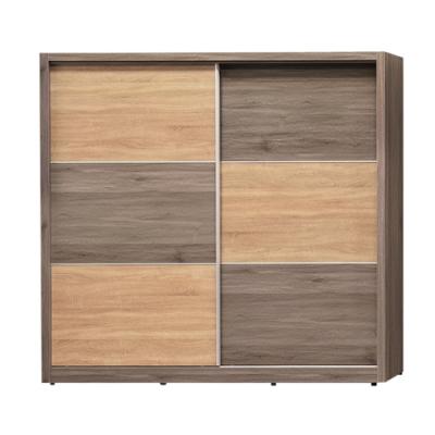 綠活居 波加 現代6.7尺多功能推門衣櫃/收納櫃(吊衣桿+三抽屜+拉合式層架)-200.6x60.3x197cm免組