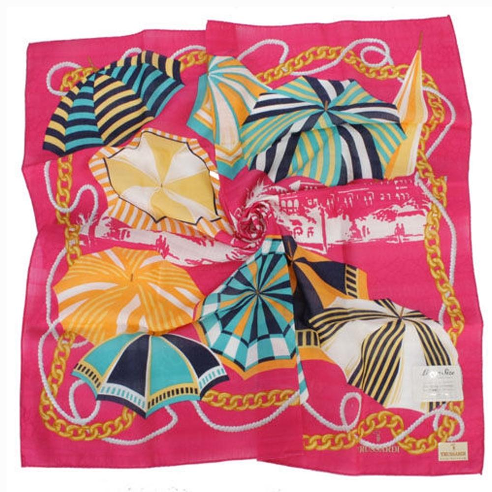 TRUSSARDI 艷陽夏日風情帕巾(桃紅)