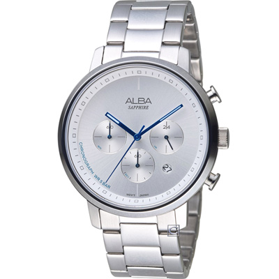 ALBA 雅柏 休閒計時腕錶(AT3E03X1)白/42mm