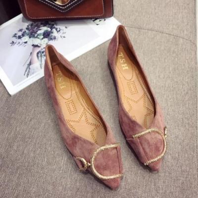 KEITH-WILL時尚鞋館 簡約隨興水鑽平底鞋 粉