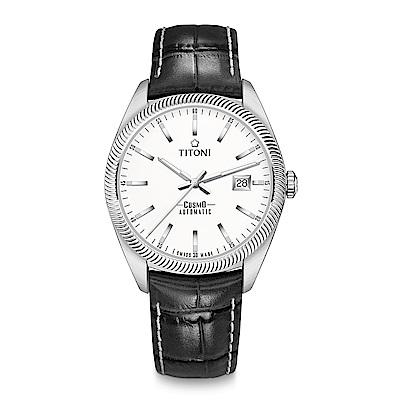 TITONI瑞士梅花錶 宇宙系列(878 S-ST-606)白錶盤/黑色皮帶/41mm