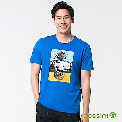 bossini男裝-印花短袖T恤37藍紫