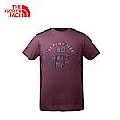 The North Face北面男款紫色吸濕排汗戶外運動短T恤|3GED1LP
