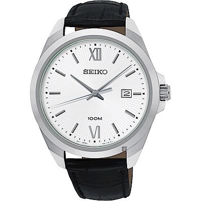 SEIKO 精工 城市時尚石英手錶(SUR283P1)-銀/42mm