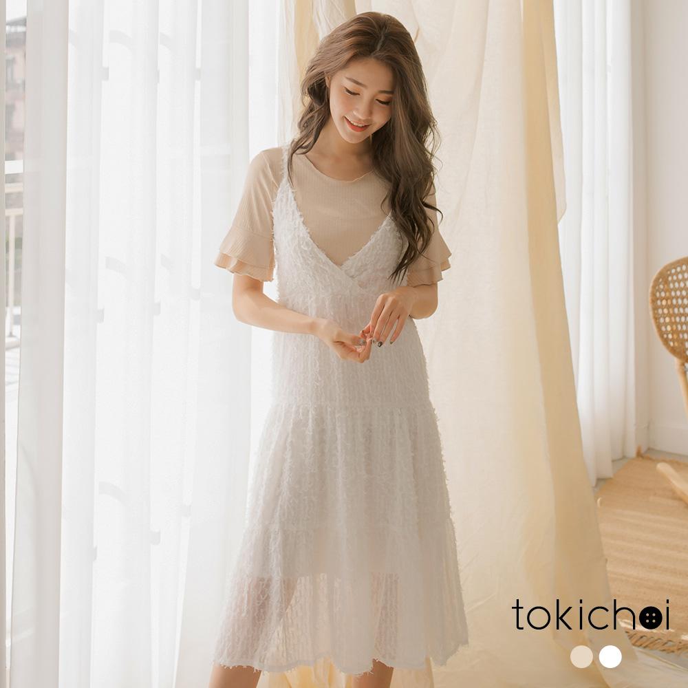 東京著衣 仙氣滿溢氣質細肩帶羽毛V領洋裝-S.M(共二色)