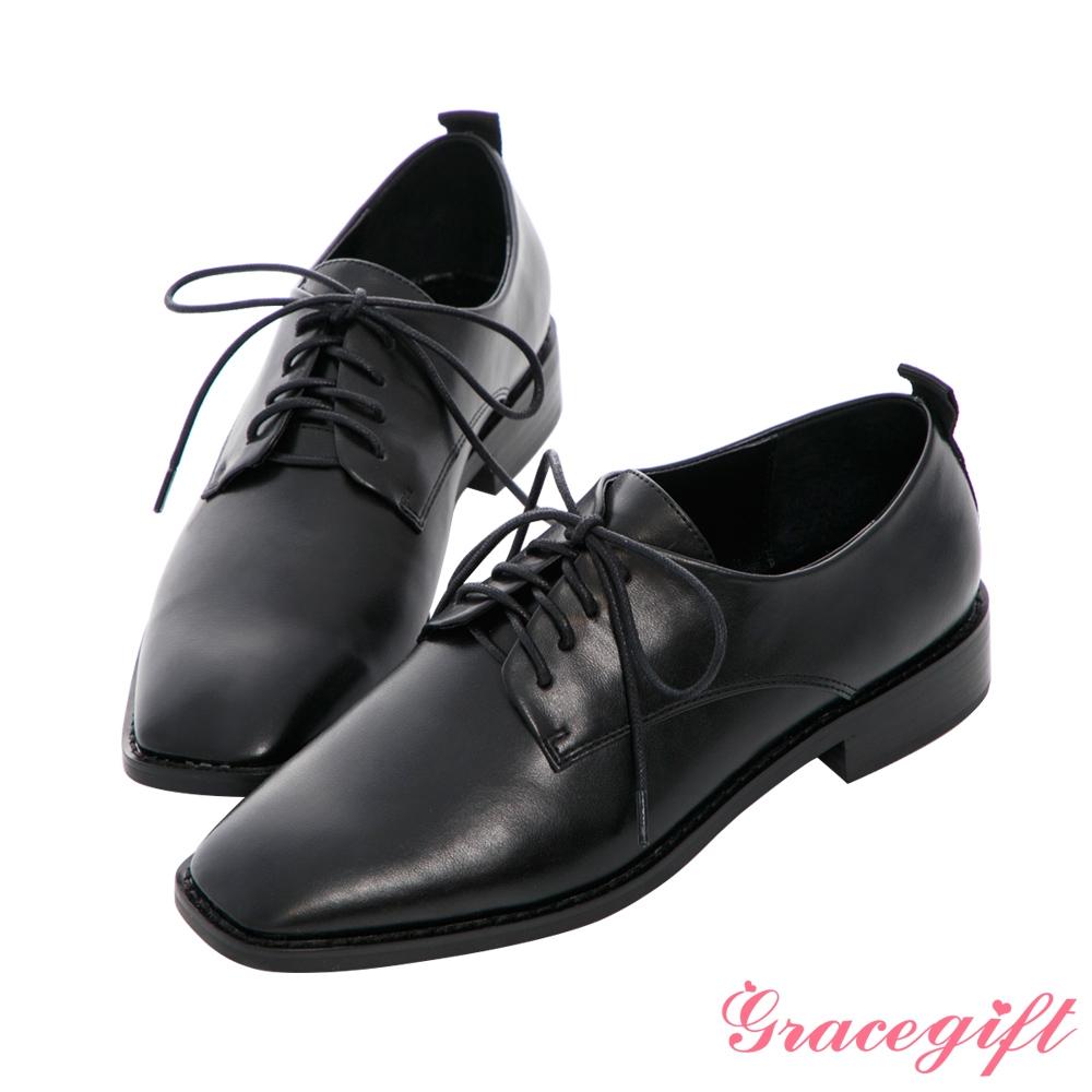 Grace gift X MEG-聯名方頭沿條綁帶低跟牛津鞋 黑