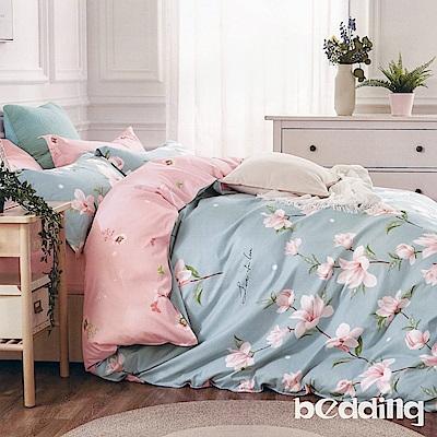BEDDING-100%棉5尺雙人薄式床包涼被四件組-情迷花海-蘭