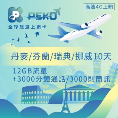 【PEKO】丹麥 芬蘭 瑞典 挪威上網卡 10日高速上網 12GB流量 優良品質高評價
