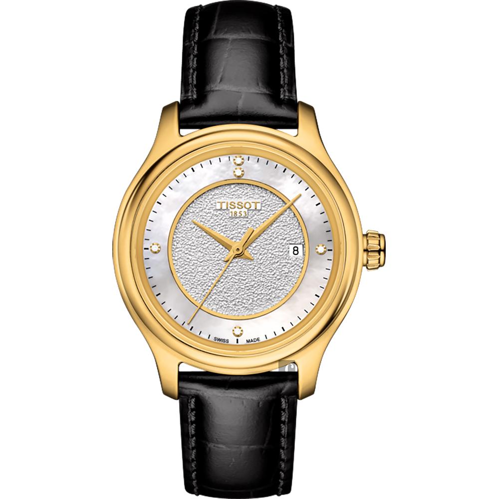 TISSOT天梭 18K金 Fascination 真鑽石英錶-珍珠貝x黑/30mm @ Y!購物